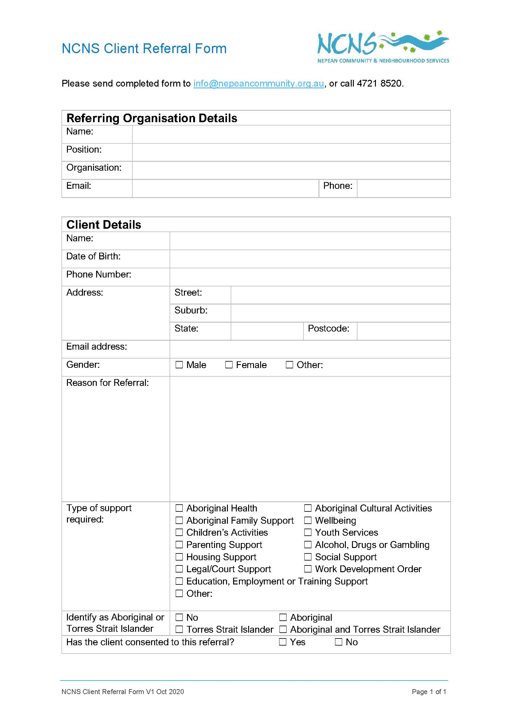 NCNS Client Referral Form